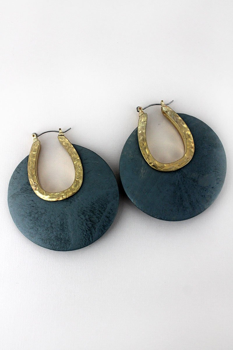 Crave Gray Wood and Goldtone Crescent Hoop Earrings