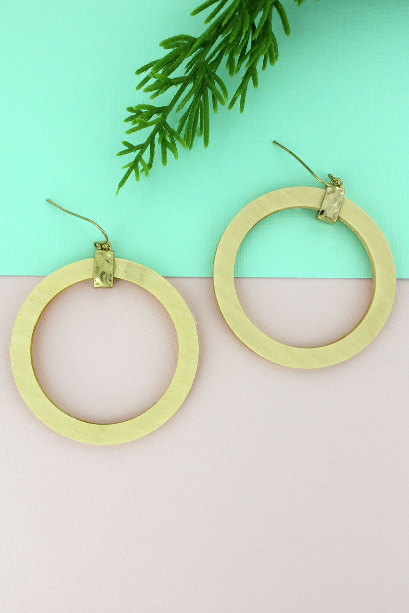 SALE! Crave Ivory Wood Circle Earrings