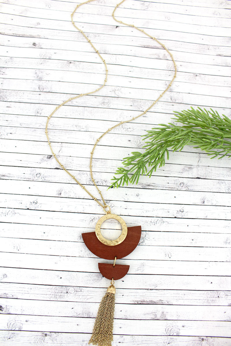 SALE! Crave Brown Wood and Goldtone Half Moon Tassel Necklace