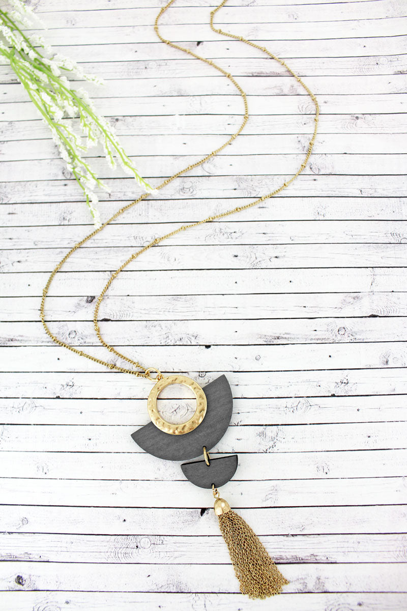 SALE! Crave Gray Wood and Goldtone Half Moon Tassel Necklace