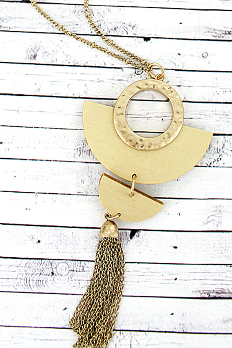 SALE! Crave Ivory Wood and Goldtone Half Moon Tassel Necklace