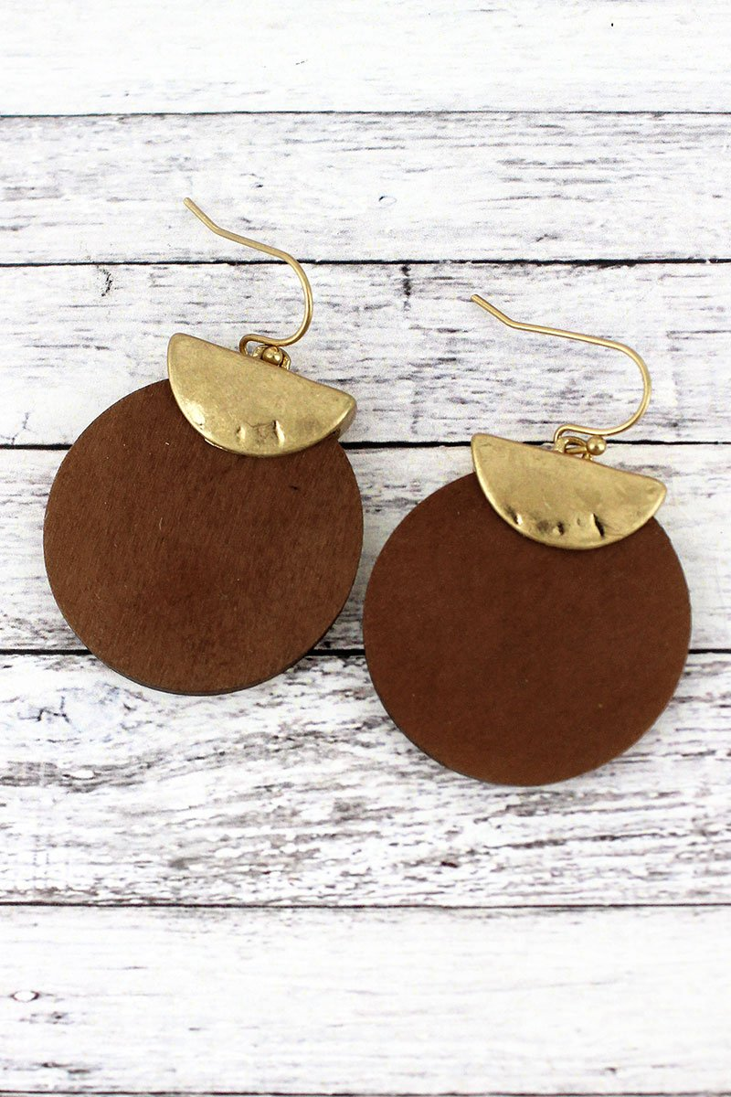 Crave Goldtone Half Moon and Brown Wood Disk Layered Earrings