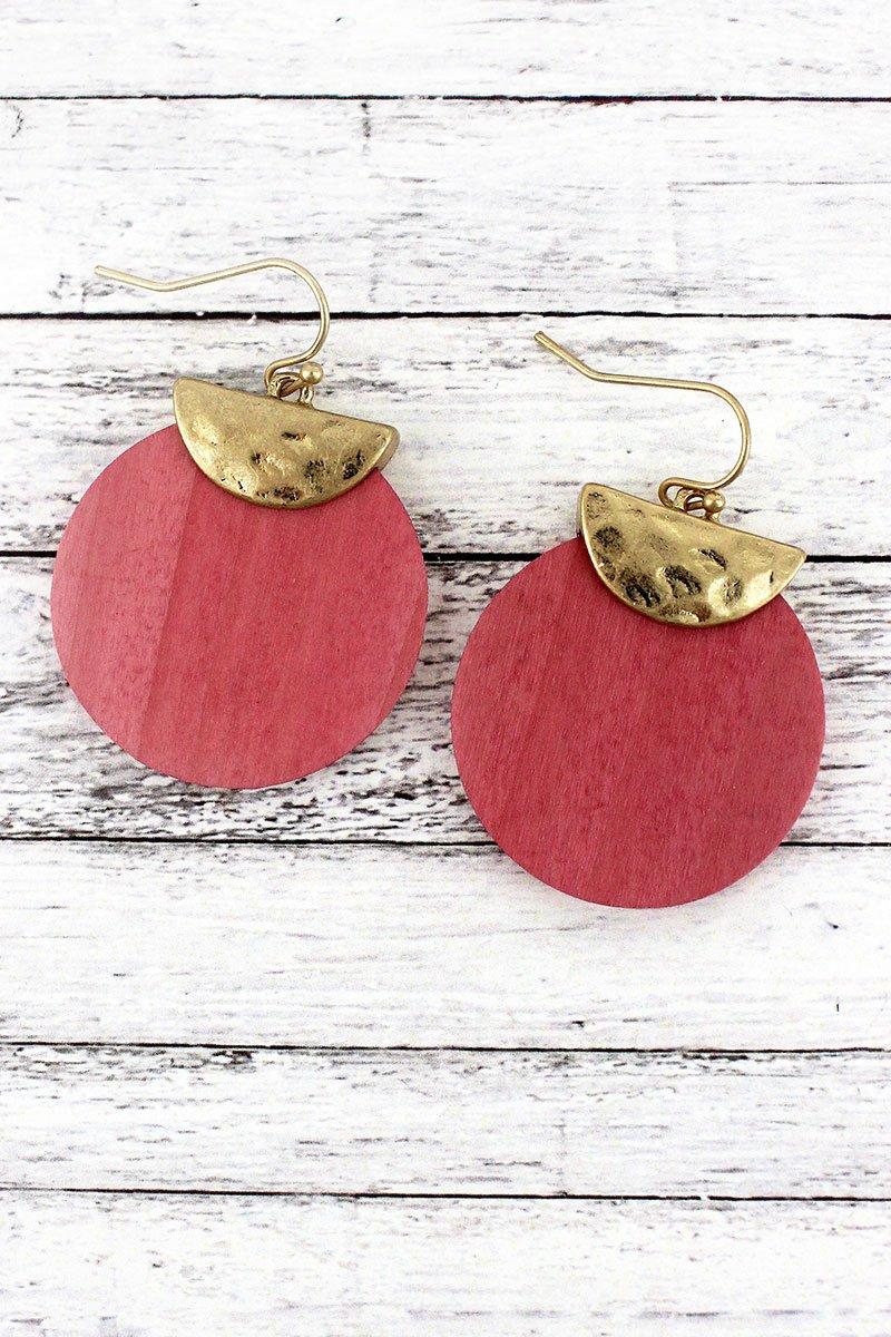 Crave Goldtone Half Moon and Pink Wood Disk Layered Earrings