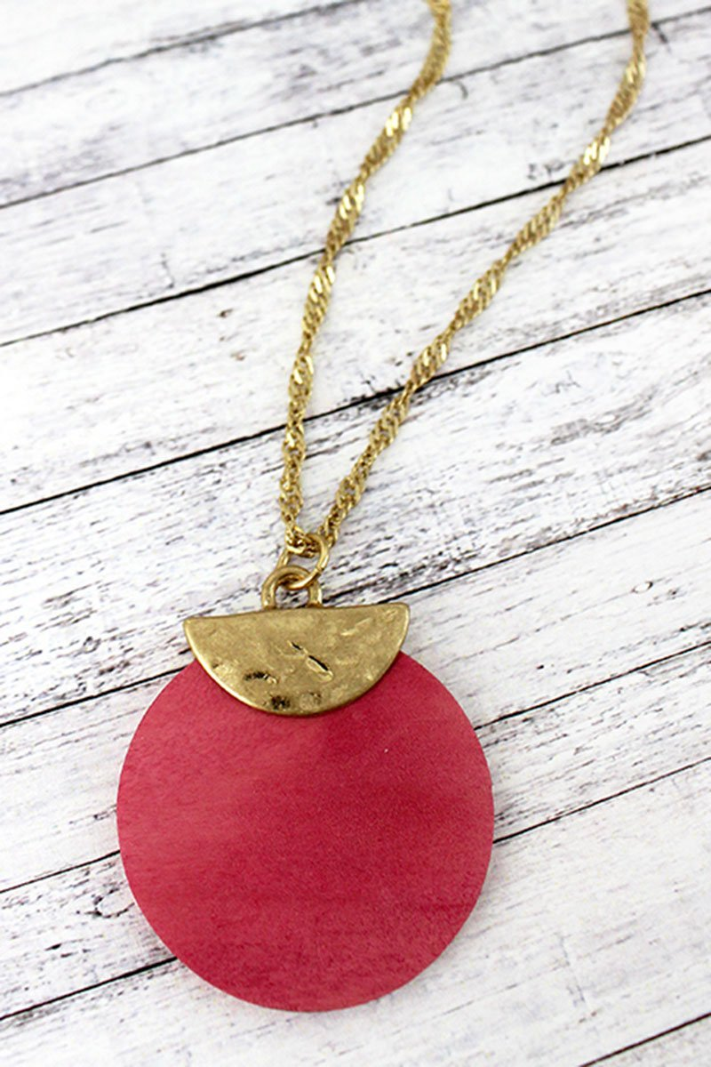 Crave Goldtone Half Moon and Pink Wood Disk Necklace
