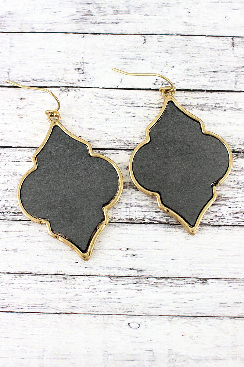 Crave Gray Wood and Goldtone Moroccan Earrings