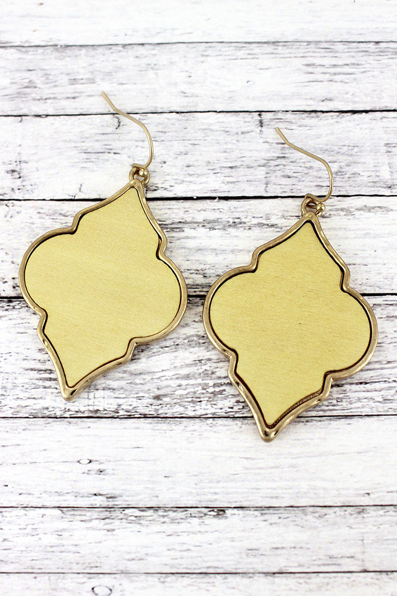 Crave Ivory Wood and Goldtone Moroccan Earrings