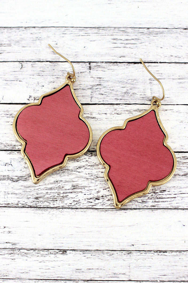 Crave Pink Wood and Goldtone Moroccan Earrings