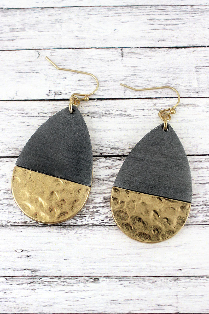 Crave Gray Wood and Hammered Goldtone Teardrop Earrings