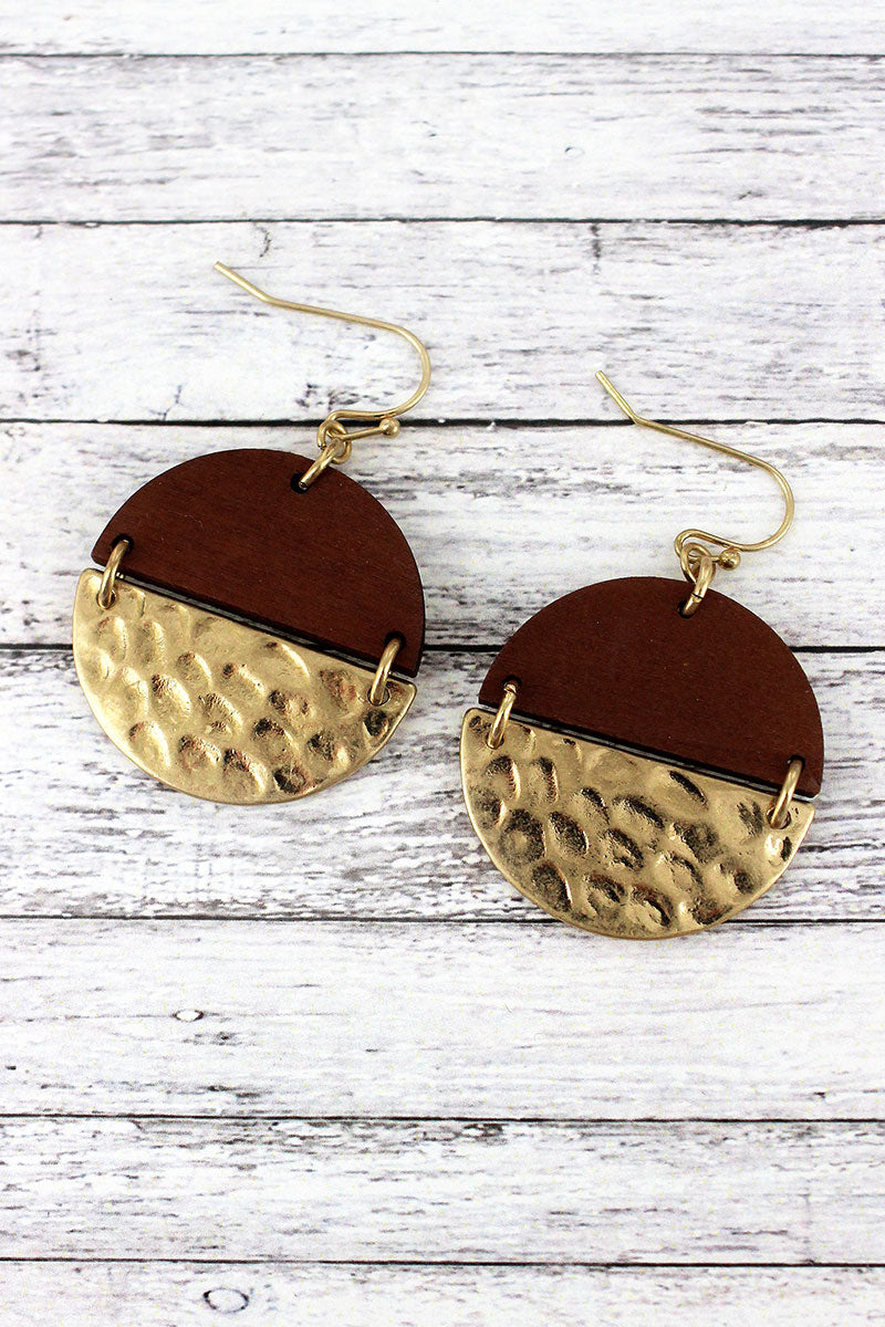 Crave Brown Wood and Hammered Goldtone Split Disk Earrings