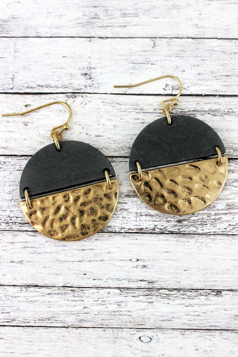 Crave Gray Wood and Hammered Goldtone Split Disk Earrings