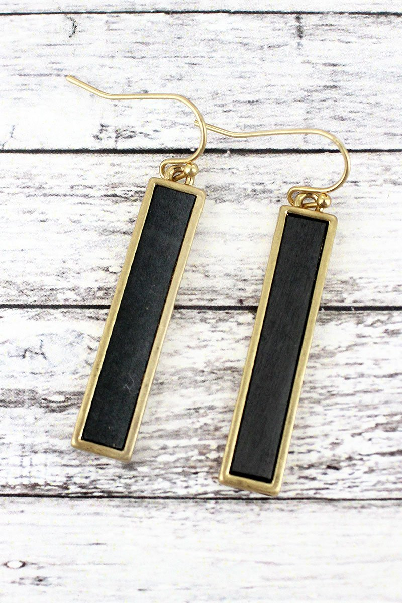 Crave Gray Wood and Goldtone Bar Earrings
