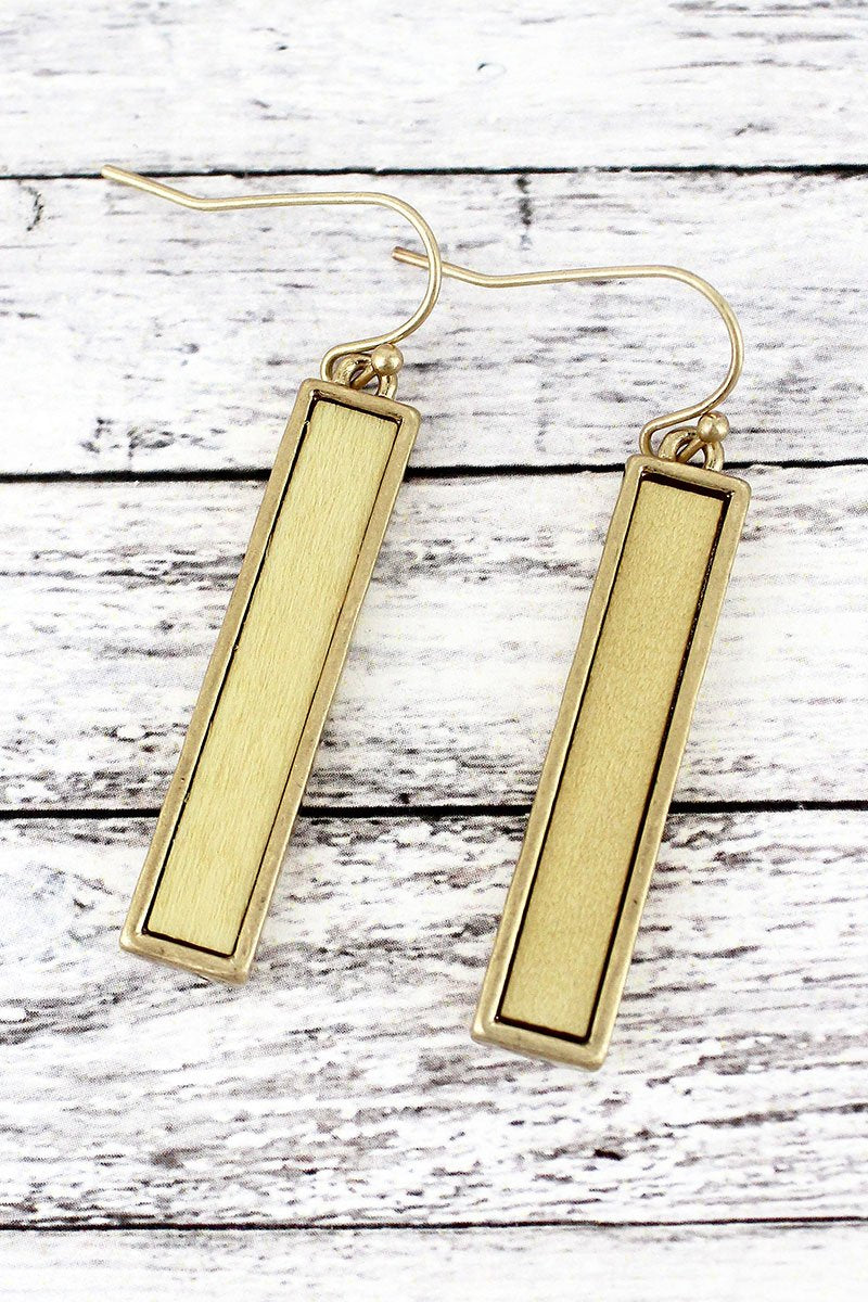 Crave Ivory Wood and Goldtone Bar Earrings