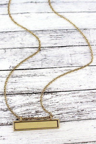 Crave Goldtone and Ivory Wood Bar Necklace