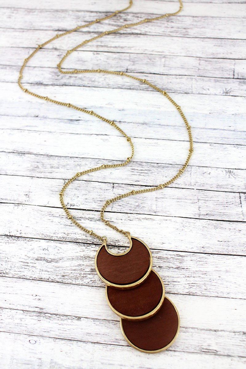 Crave Brown Wood and Goldtone Tiered Crescent Disk Necklace