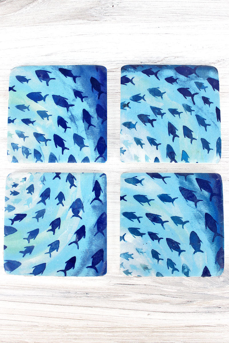Set of Four 4 x 4 Resin Swimming Fish Coasters