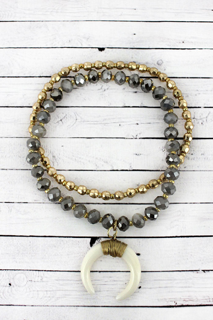 Crave Gray and Goldtone Faceted Bead Double Horn Charm Bracelet Set