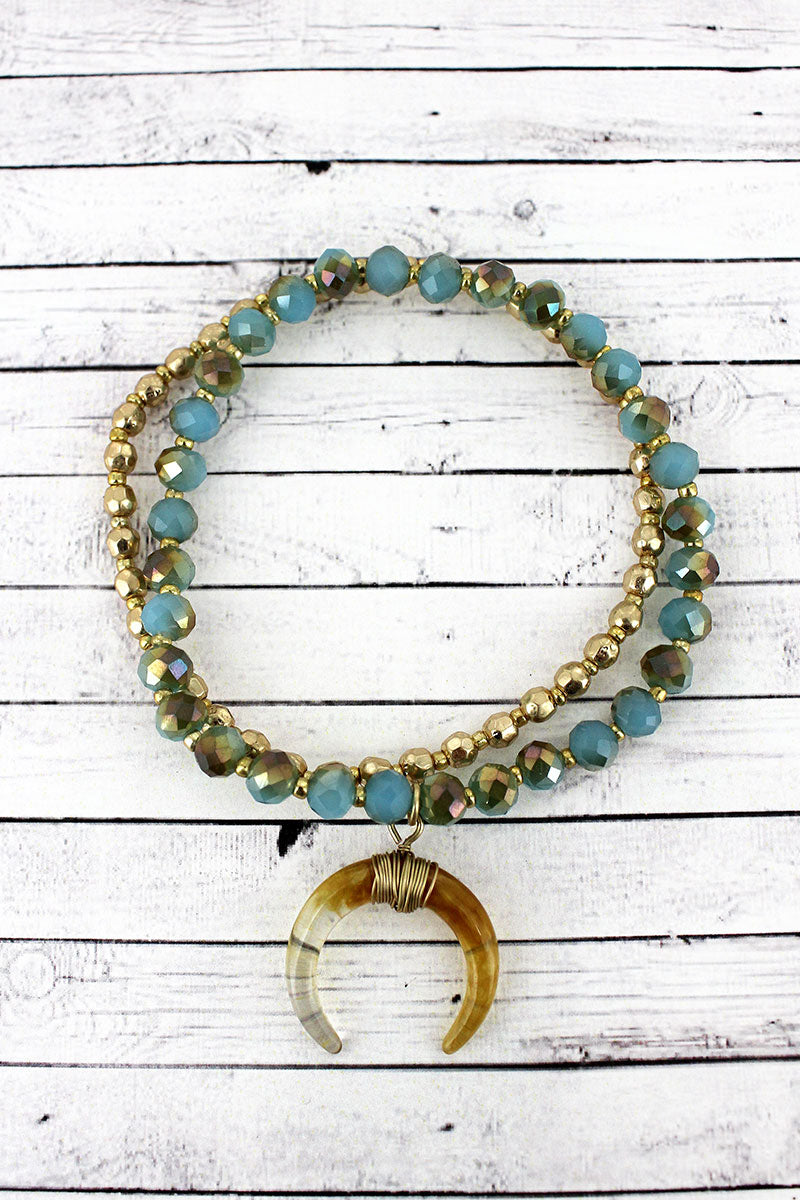 Crave Turquoise and Goldtone Faceted Bead Double Horn Charm Bracelet Set