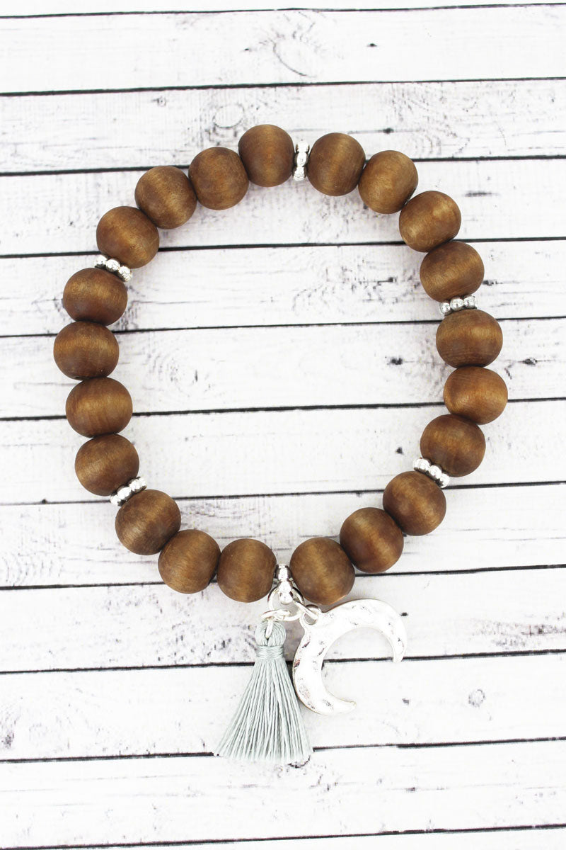 SALE! Brown Wood Beaded Double Horn & Tassel Charm Bracelet