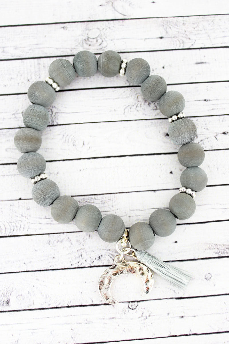 SALE! Gray Wood Beaded Double Horn & Tassel Charm Bracelet