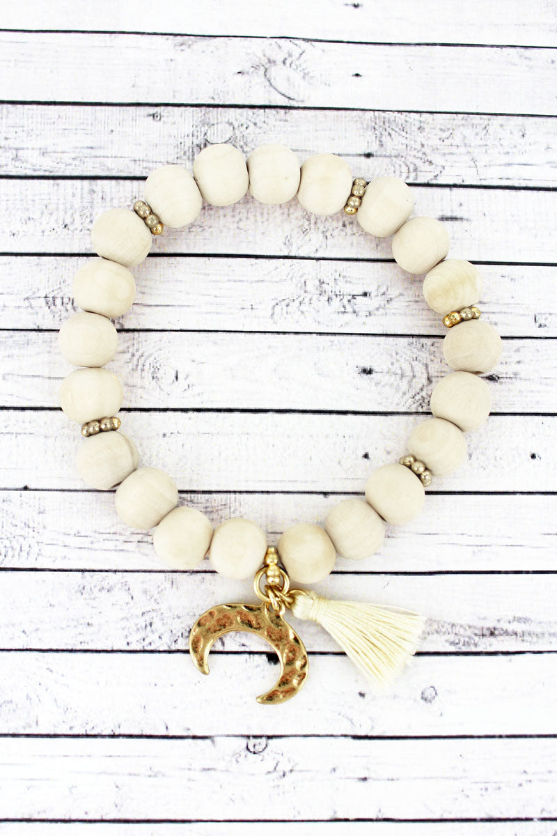SALE! Natural Wood Beaded Double Horn & Tassel Charm Bracelet