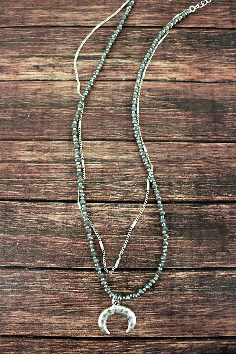 Crave Layered Silvertone Double Horn Beaded Necklace
