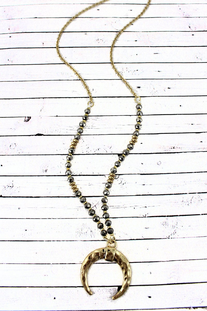 Crave Goldtone Double Horn Hematite Beaded Necklace