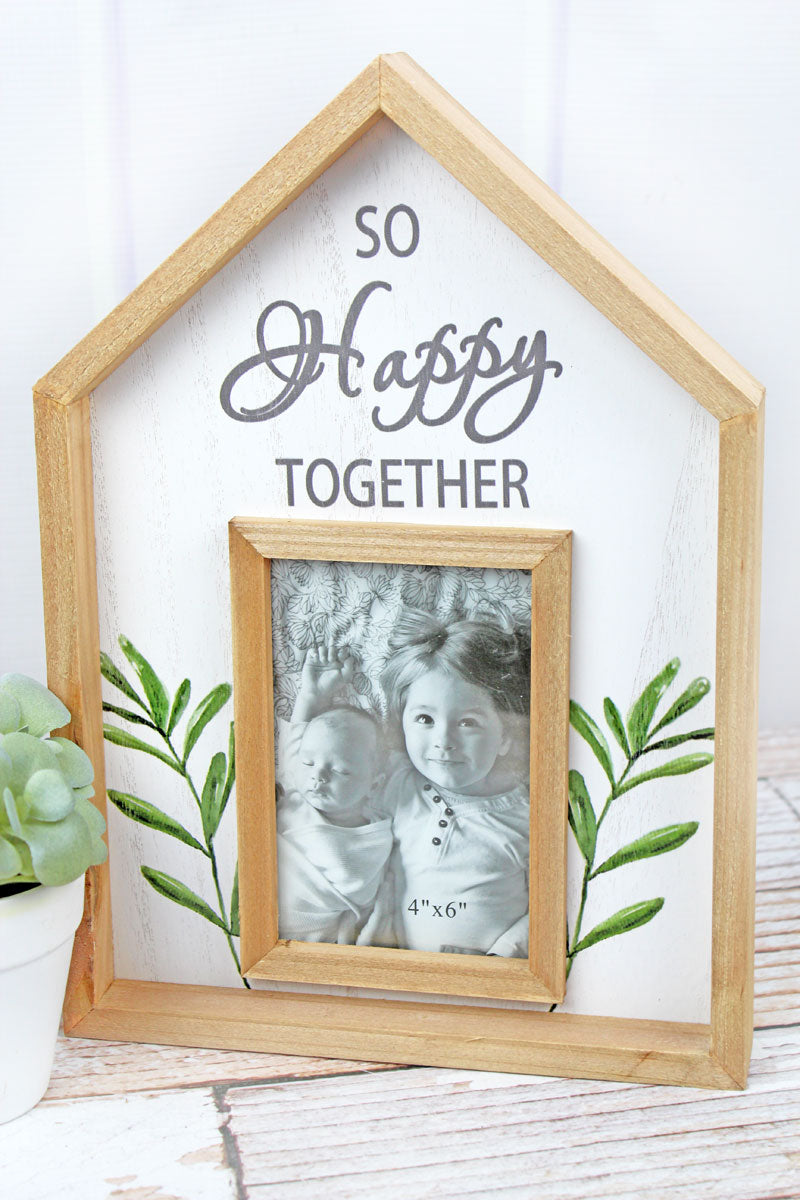 13.25 x 9.25 'So Happy Together' Wood House Shaped 4x6 Photo Frame