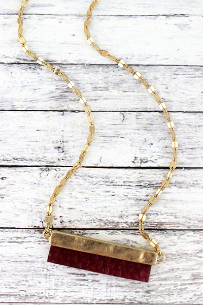 Crave Goldtone and Burgundy Python Bar Necklace