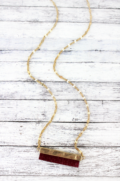 SALE! Crave Goldtone and Burgundy Python Bar Necklace