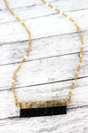 Crave Goldtone and Black Python Bar Necklace