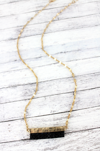 SALE! Crave Goldtone and Black Python Bar Necklace
