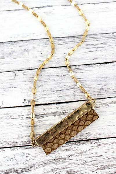 Crave Goldtone and Brown Python Bar Necklace