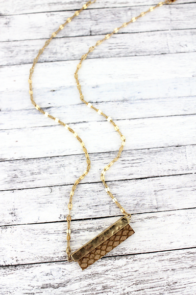 SALE! Crave Goldtone and Brown Python Bar Necklace
