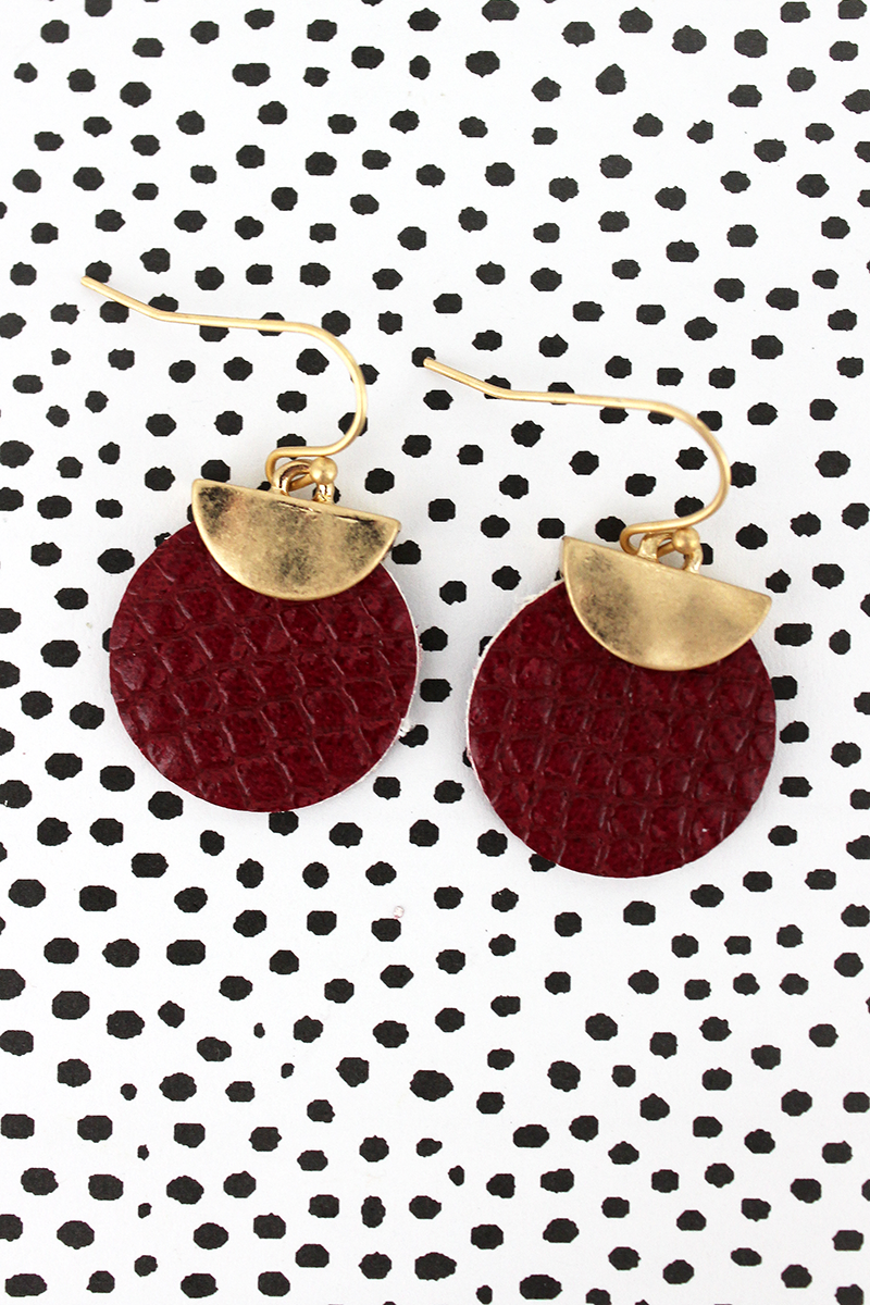 Crave Goldtone Half Moon and Burgundy Python Disk Earrings