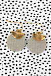 Crave Goldtone Half Moon and Gray Python Disk Earrings