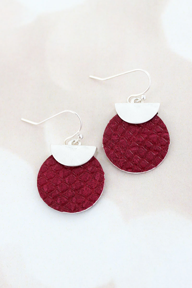 SALE! Crave Silvertone Half Moon and Burgundy Python Disk Earrings