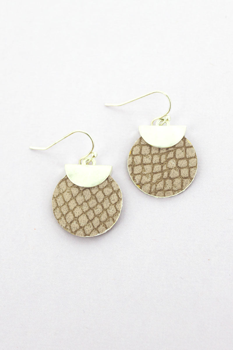 SALE! Crave Silvertone Half Moon and Brown Python Disk Earrings