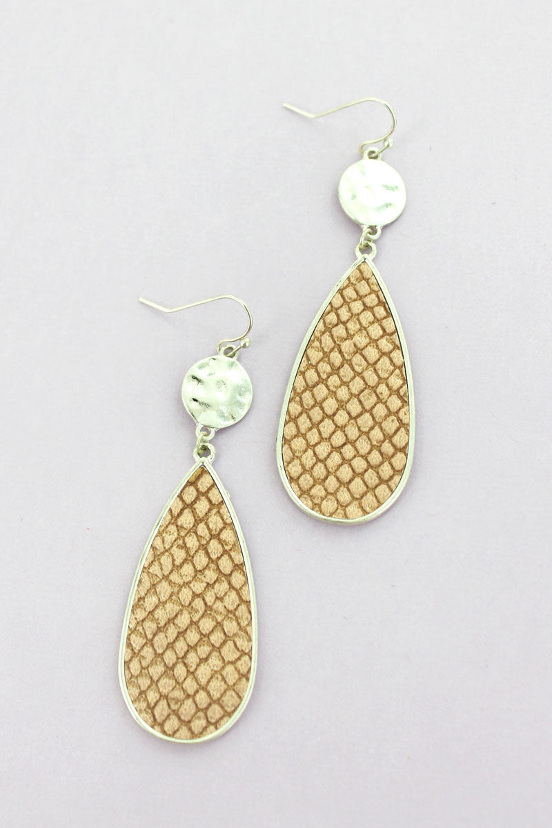 SALE! Crave Silvertone Disk and Brown Python Teardrop Earrings