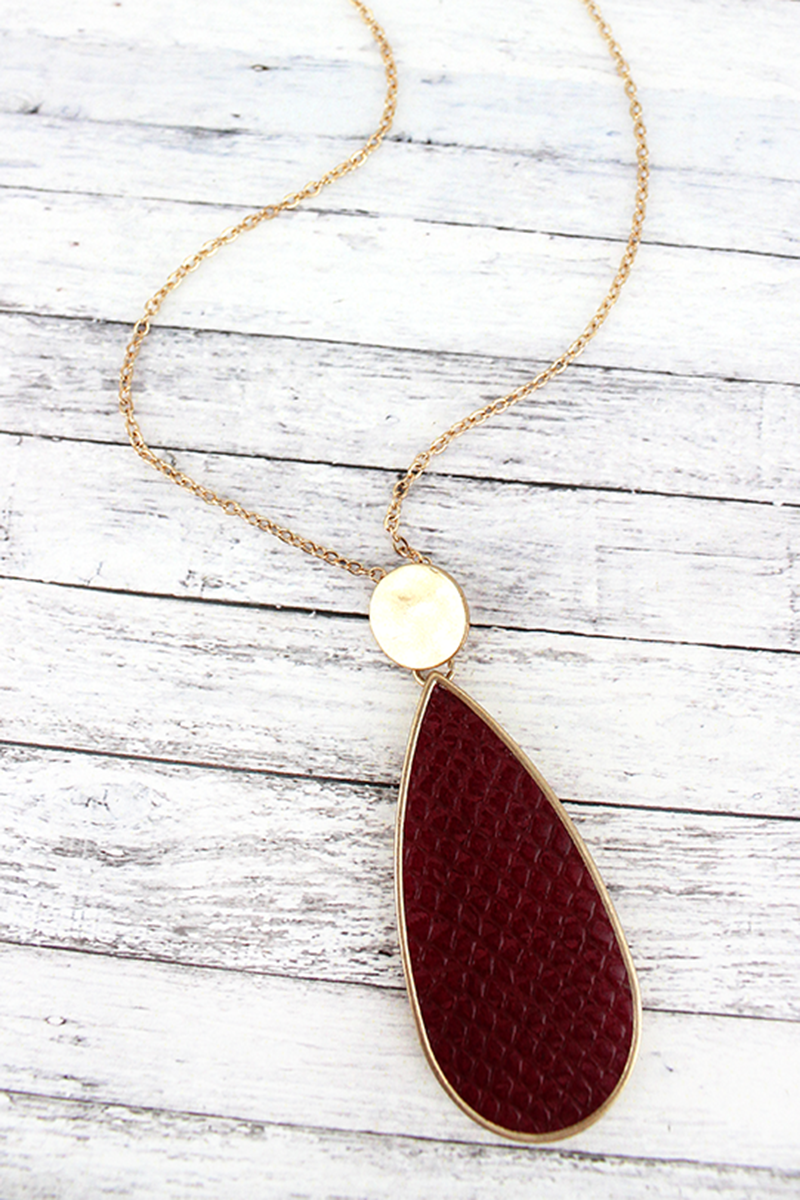 Crave Goldtone Disk and Burgundy Python Teardrop Necklace