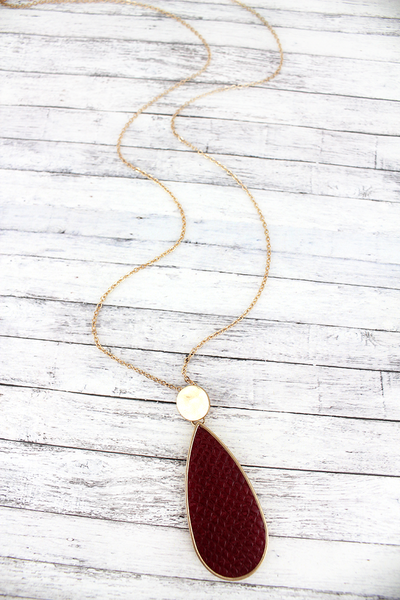 SALE! Crave Goldtone Disk and Burgundy Python Teardrop Necklace