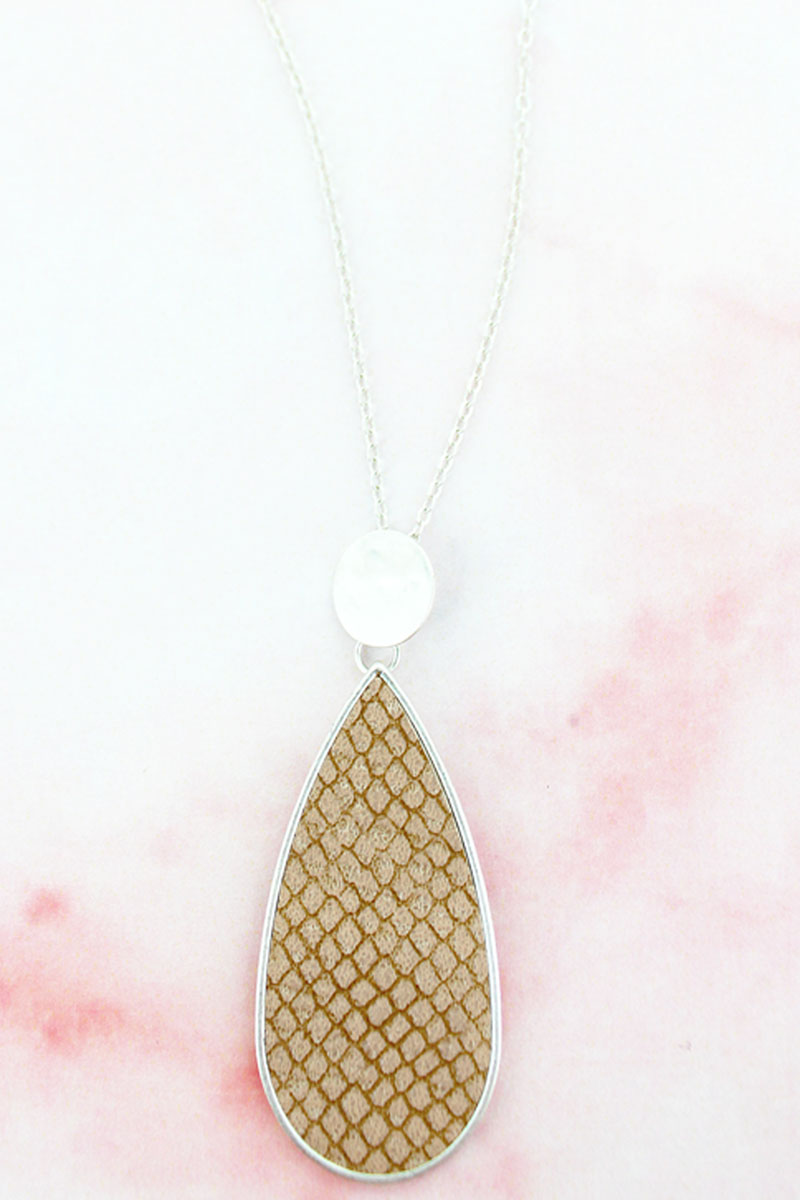 SALE! Crave Silvertone Disk and Brown Python Teardrop Necklace