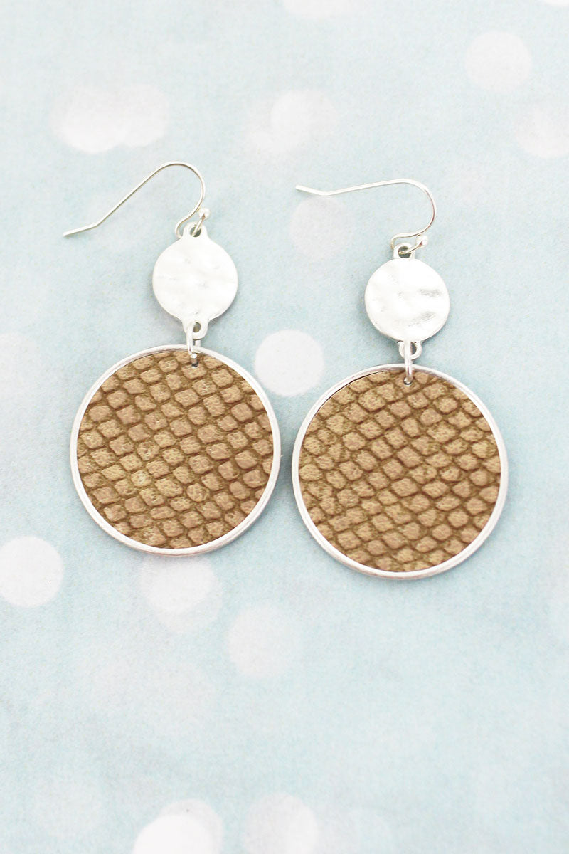 SALE! Crave Silvertone and Brown Python Double Disk Earrings