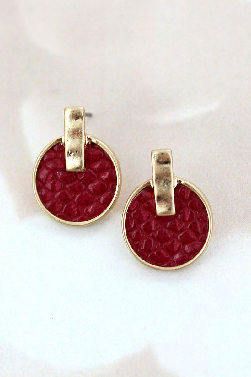 SALE! Goldtone and Burgundy Python Disk Stud Earrings