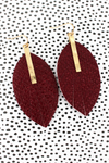 Crave Goldtone Bar and Burgundy Python Leaf Earrings