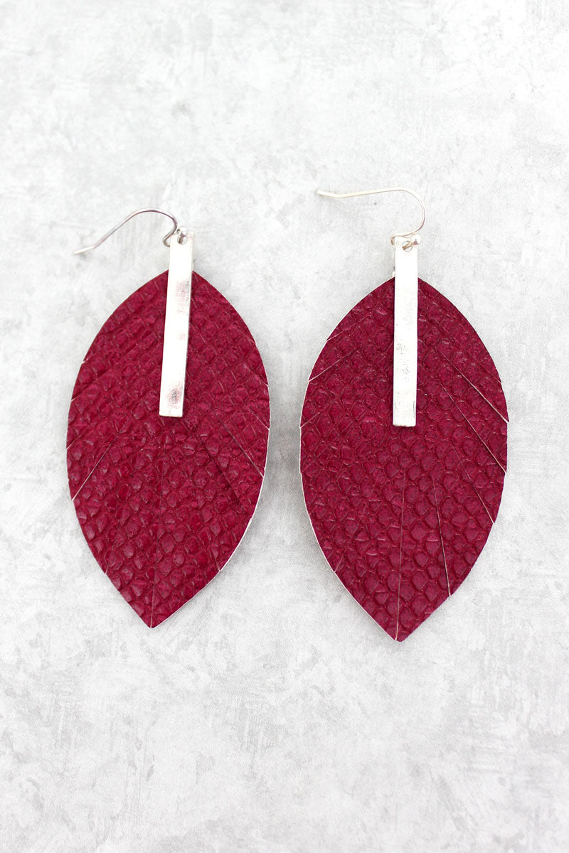 SALE! Crave Silvertone Bar and Burgundy Python Leaf Earrings