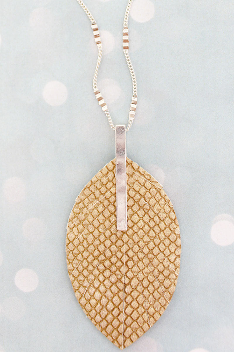 SALE! Crave Silvertone Bar and Brown Python Leaf Necklace