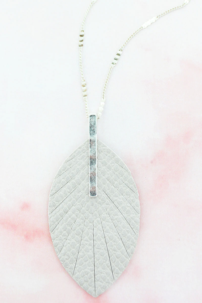 SALE! Crave Silvertone Bar and Gray Python Leaf Necklace