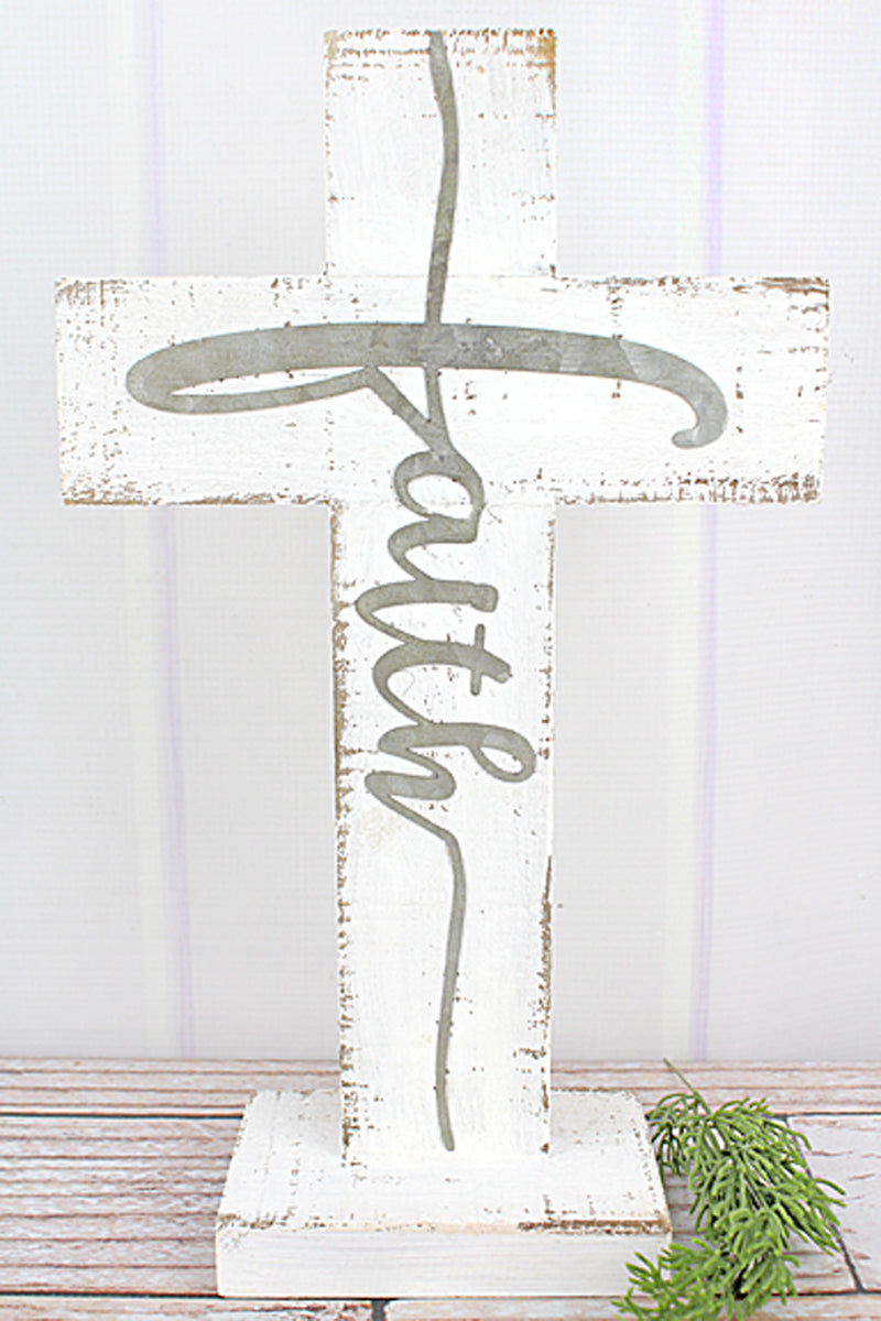 14 x 8.5  'Faith' Metal Accented Wood Tabletop Cross