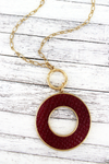 Crave Goldtone and Burgundy Python Circle Necklace