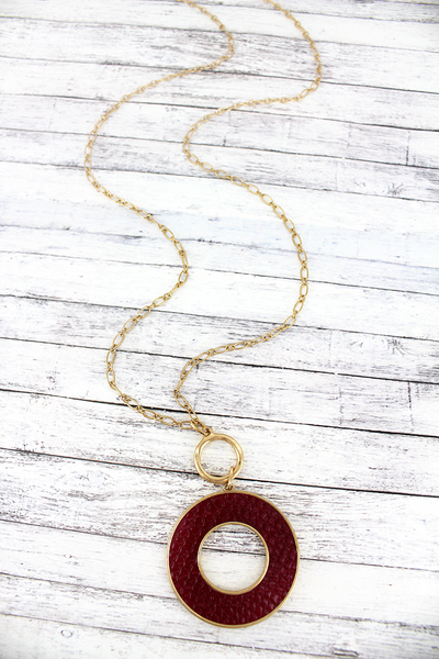 SALE! Crave Goldtone and Burgundy Python Circle Necklace